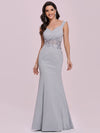 Floor Length Fishtail Evening Dress With Off-Shoulder Straps-Grey 6
