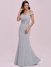 Floor Length Fishtail Evening Dress With Off-Shoulder Straps-Grey 7