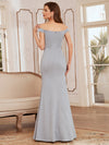 Floor Length Fishtail Evening Dress With Off-Shoulder Straps-Grey 2