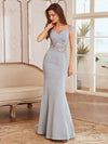 Floor Length Fishtail Evening Dress With Off-Shoulder Straps-Grey 1