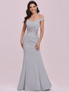 Floor Length Fishtail Evening Dress With Off-Shoulder Straps-Grey 4