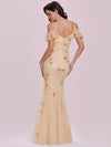 Embroidered Deep V-Neck Cold-Shoulder Sequin Evening Dress-Gold 2