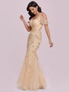 Embroidered Deep V-Neck Cold-Shoulder Sequin Evening Dress-Gold 3