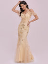Embroidered Deep V-Neck Cold-Shoulder Sequin Evening Dress-Gold 4