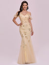 Embroidered Deep V-Neck Cold-Shoulder Sequin Evening Dress-Gold 1