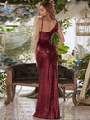 V Neck Sleeveless Paillette Side Slit Floor-Length Evening Dress-Burgundy 2