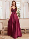 Glitter Sleeveless Maxi Satin Evening Dress With Sequin Bodice-Burgundy 1