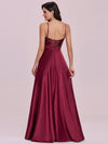 Glitter Sleeveless Maxi Satin Evening Dress With Sequin Bodice-Burgundy 6