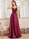 Glitter Sleeveless Maxi Satin Evening Dress With Sequin Bodice-Burgundy 3