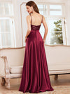 Glitter Sleeveless Maxi Satin Evening Dress With Sequin Bodice-Burgundy 2