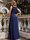 Flower Applique Sleeveless A-Line Pleated Evening Gown-Navy Blue 2