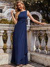 Flower Applique Sleeveless A-Line Pleated Evening Gown-Navy Blue 3