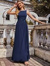 Flower Applique Sleeveless A-Line Pleated Evening Gown-Navy Blue 4