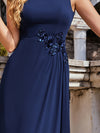 Flower Applique Sleeveless A-Line Pleated Evening Gown-Navy Blue 5
