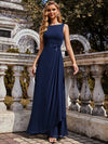 Flower Applique Sleeveless A-Line Pleated Evening Gown-Navy Blue 1