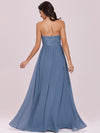 Strapless Floor Length Sweetheart A-Line Lace Evening Gown-Dusty Navy 4