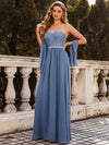Strapless Floor Length Sweetheart A-Line Lace Evening Gown-Dusty Navy 1