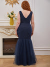 Plus-Size V-Neck Fishtail Prom Dress With A-Line Skirt -Navy Blue 4