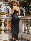 Elegant Asymmetric Strapless Bodycon Sequin Maxi Evening Dress-Black 2