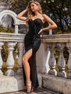 Elegant Asymmetric Strapless Bodycon Sequin Maxi Evening Dress-Black 4