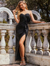 Elegant Asymmetric Strapless Bodycon Sequin Maxi Evening Dress-Black 5