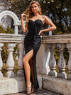Elegant Asymmetric Strapless Bodycon Sequin Maxi Evening Dress-Black 1