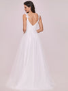Double V Neck Lace Bodice Floor Length A-Line Wedding Dress-Cream 5