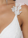 Double V Neck Lace Bodice Floor Length A-Line Wedding Dress-Cream 7