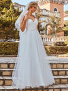 Double V Neck Lace Bodice Floor Length A-Line Wedding Dress-Cream 1