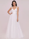 Double V Neck Lace Bodice Floor Length A-Line Wedding Dress-Cream 6