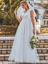 Double V Neck Lace Bodice Sleeveless Simple Wedding Dress-Cream 1