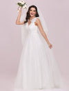 Double V Neck Lace Bodice Sleeveless Simple Wedding Dress-Cream 4