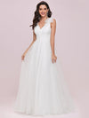 Double V Neck Lace Bodice Sleeveless Simple Wedding Dress-Cream 7