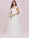Double V Neck Lace Bodice Sleeveless Simple Wedding Dress-Cream 6