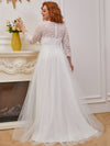 Romantic A-Line Plus Size Tulle Wedding Dress With Lace-Cream 3