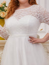Romantic A-Line Plus Size Tulle Wedding Dress With Lace-Cream 5