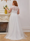 Elegant A Line V-Neck Wedding Gown With Cover Sleeves-Cream 7
