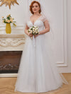 Elegant A Line V-Neck Wedding Gown With Cover Sleeves-Cream 6