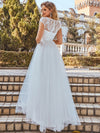 Elegant A Line V-Neck Wedding Gown With Cover Sleeves-Cream 2