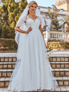 Elegant A Line V-Neck Wedding Gown With Cover Sleeves-Cream 1