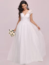 Elegant A Line V-Neck Wedding Gown With Cover Sleeves-Cream 4
