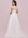 Elegant A Line V-Neck Wedding Gown With Cover Sleeves-Cream 5