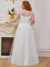 Plus Size A-Line Tulle Wedding Dress With Long Sleeves-Cream 3