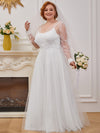 Romantic A-Line Tulle Wedding Dress With Lace Decoration-Cream 8