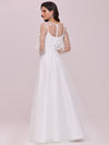 Romantic A-Line Tulle Wedding Dress With Lace Decoration-Cream 5