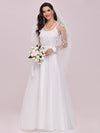 Romantic A-Line Tulle Wedding Dress With Lace Decoration-Cream 4