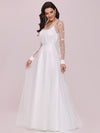 Romantic A-Line Tulle Wedding Dress With Lace Decoration-Cream 6