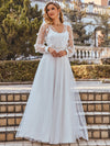 Romantic A-Line Tulle Wedding Dress With Lace Decoration-Cream 2