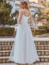 Romantic A-Line Tulle Wedding Dress With Lace Decoration-Cream 3