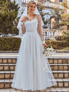Romantic A-Line Tulle Wedding Dress With Lace Decoration-Cream 1